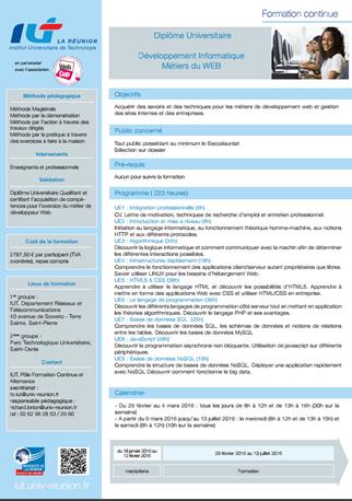 Diplôme Universitaire - Développement Informatique Métiers du WEB